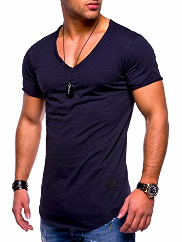 Behype Men's Basic T-Shirt Polo Muscle Tee Casual Tops MT-7102 (M,Navy) Basic Mens Polo Shirt
