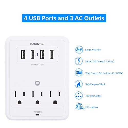 POWRUI Multi Wall Outlet Adapter Surge Protector 1680 Joules with 4 USB charging ports,Wall Mount Charging Center 3 Outlet Wall Mount Adapter for Home, School, Office, ETL Certified