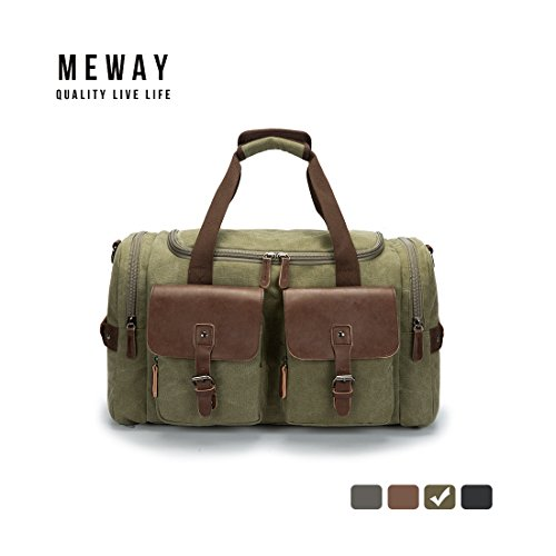 Oversized Canvas Leather Weekender Bag Travel Duffel Shoulder Handbag with Strap by MEWAY (CANVAS LEATHER, ARMY (Horse Kids Duffel Bag)