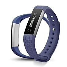 Epiktec Touch Screen Fitness Tracking Wristband - Multi-Functional DayFit 2.0 Heart Rate Smartband | Water-Resistant Health Monitor Band for Regular Activity - Purple