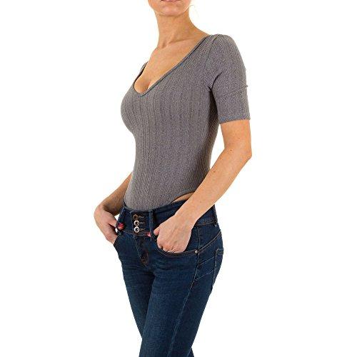 Ital-Design Elastischer Body Top für Damen, Grau in Gr. L Bei