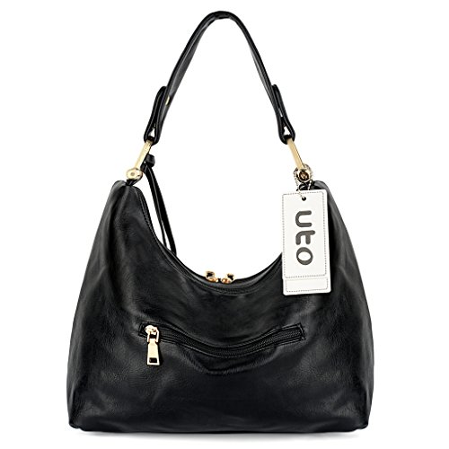 Black Hobo Style Black Leather Handbag Shoulder Purse Women PU Bag UTO BWaqc6xvc