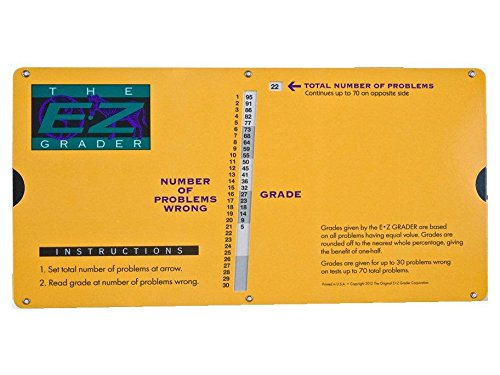 "Grading Calculator - E-Z Grader Teacher's Aid Scoring Chart Big Print Edition (Yellow) - 10"" x 5"""