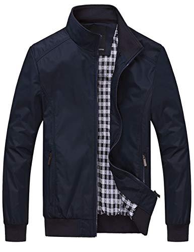 Lentta Men's Casual Slim Lightweight Softshell Zipper Windbreakers Bomber Jacket (Large, 02-Dark Blue)