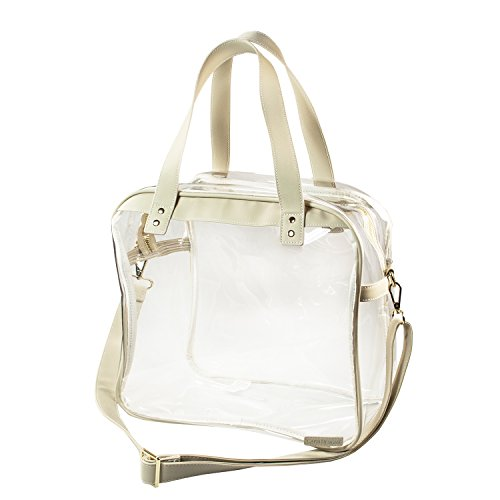 Capri Designs Women's Clear PVC with Tan and Gold Accents Carryall Tote, Gold, One Size by Capri Designs