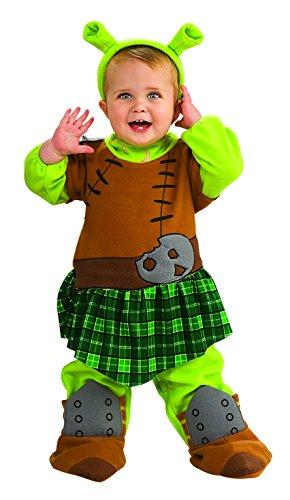 Baby Girl Shrek Costume (Shrek Romper And Ears Warrior Princess Fiona, 6-12 Months)