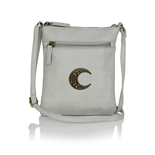 Gray Bone Moon Gothic Boho Child Festival Bag Crossbody Faux Print Leather Mini Tribal 1wZTx417