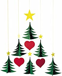 Flensted Mobiles Christmas Tree 6 Hanging Mobile - 17 Inches Cardboard