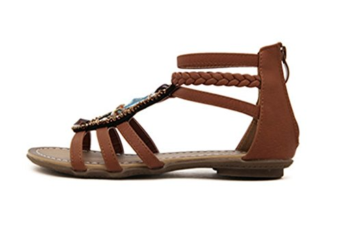 Back Womens Roman Flats Leatherette style Brown zipper Beaded CRC Casual Sandals Comfortable 4OwqBxI