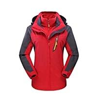 Jiayit 2018 Winter Warm Plus Size Hooded Coats Big Sale! Women's Outdoor Outfit Two Piece Three in One Warm Waterproof Breathable Coat