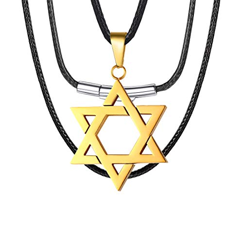 U7 18K Gold Plated Star of David Necklace Alchemist Gift Megan Six-Pointed Star Pendant with 2mm Wide Black Leather Cord Chain 26