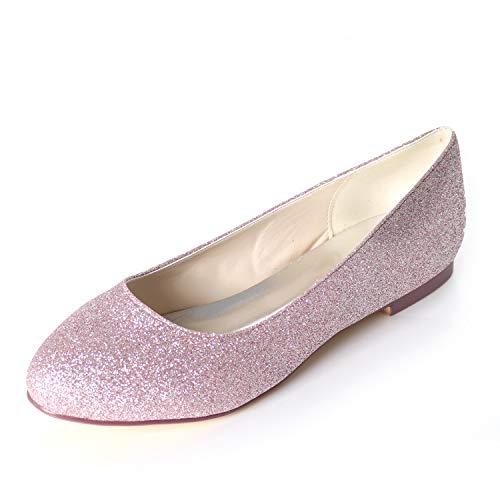 Elobaby Women Wedding Shoes Dress Fashion Super Chunky Satin Size Summer Flat Closed Toe Slingback SD-45 /1cm Heel, Purple, 42