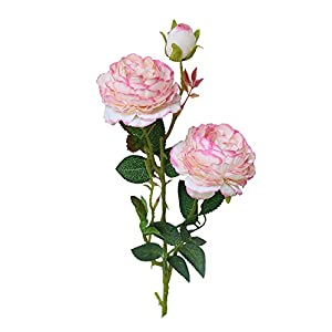 Sunyastor Artificial Flowers, Artificial Western Rose Flowers Silk Artificial Roses Peony Bridal Bouquet Wedding Bouquet for Home Garden Party Wedding Decoration 18