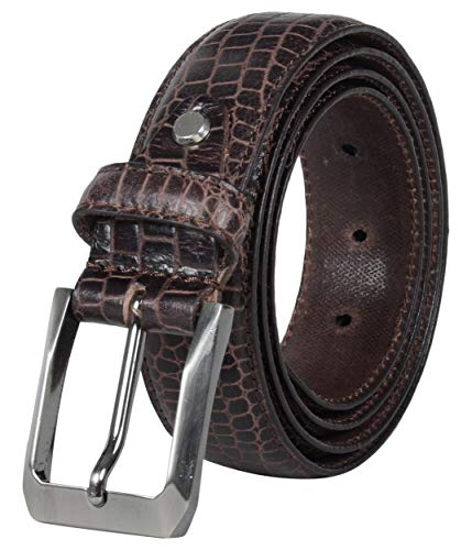 Leather Architect Men's Real Leather Croco Textured Belt 42