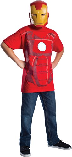 Marvel Avengers Assemble Iron Man Costume T-Shirt with Mask, Red, Small -
