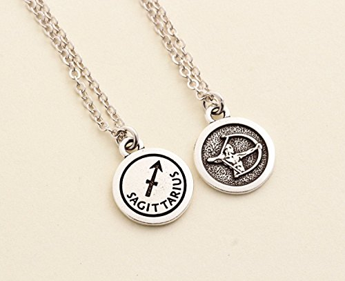 Sagittarius Zodiac Sign Charm Pendant Necklace - Lead and Nickel Free Silver Plated Pewter