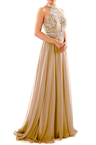 MACloth Women Halter High Neck Sleeveless Long Prom Party Dress Evening Gown Champagne
