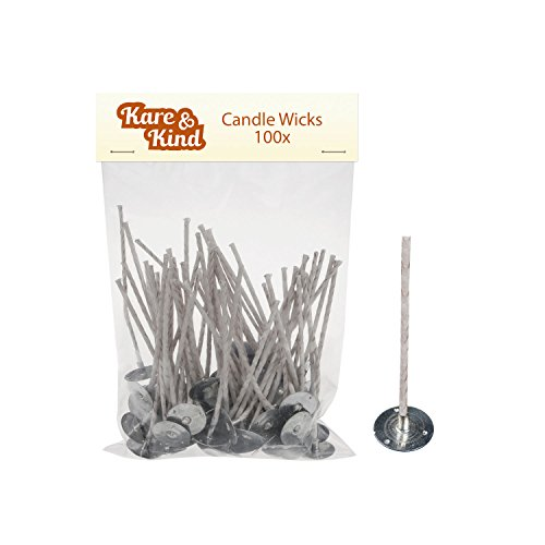 Candle Wicks for Candle Making - 100 Pieces - Coated With Natural Soy Wax, Low Smoke - Cotton Threads Woven with Paper - Contains No Lead, Zinc or Other Metals - Ready to Use by Kare & Kind