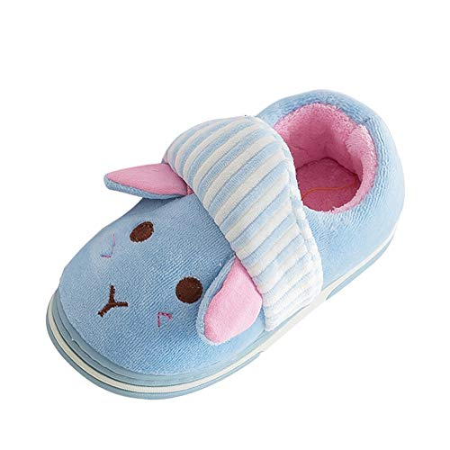 Boy's Girl's Home Slippers Cute Fuzzy Warm Fur Lined/Anti-Skid Sole Indoor Shoes (Toddler/Little Kid/Big Kid) (Sky Blue, Age:5-6Years)
