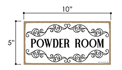 Honey Dew Gifts White Powder Room Sign - 5 x 10 inch Hanging, Wall Art, Decorative Wood Sign for Home, Office, or Commercial Bathrooms