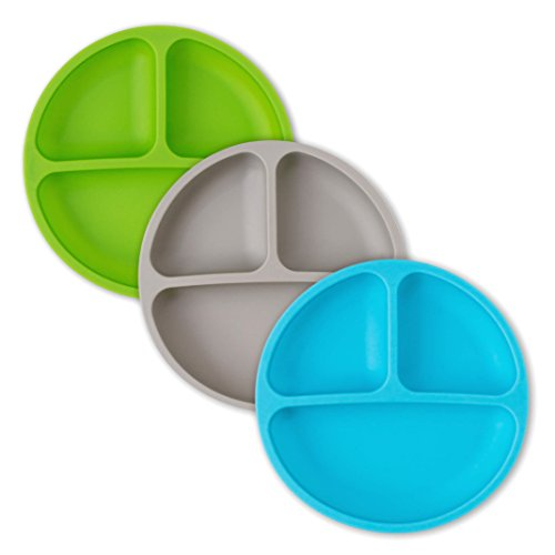 Toddler Plates - Silicone Plate with Dividers for Baby, Kids & Toddlers - Set of 3 - Microwave Safe Dishes - Blue, Gray, Green
