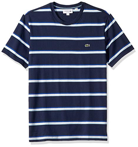 Lacoste Men's S/S Striped Jersey T-Shirt Shirt, Navy Blue/Creek/White/Captain, - Jersey T-shirt Striped