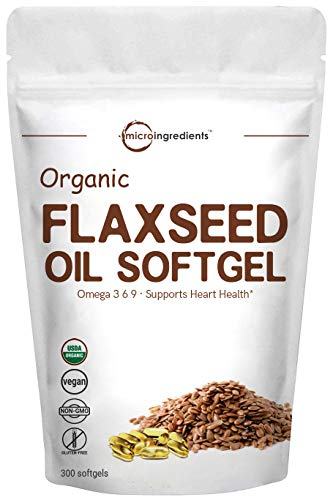 Organic Flax Seed Oil 1400mg, 300 Liquid Softgels, Highly Contains Omega 3-6-9, Fatty Acids & Alpha Linolenic Acid (ALA), Powerfully Supports Brain & Heart Health, Non-GMO and Vegan Friendly