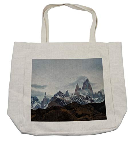 Lunarable Argentina Shopping Bag, Moody Rainy Weather Cloudy Mountain Peaks in Latin America Brown Autumn Landscape, Eco-Friendly Reusable Bag for Groceries Beach Travel School & More, Cream