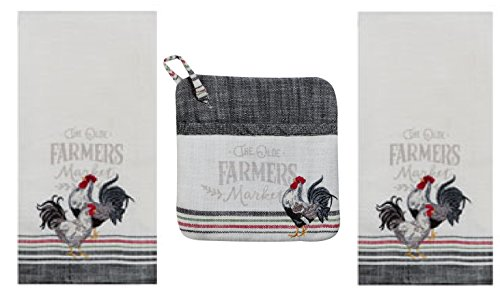 Farmers Market Kitchen Towel - Potholder Bundle, 2 Gray Striped Heavyweight Kitchen Towels with Embroidered Roosters and Matching Pocket ()