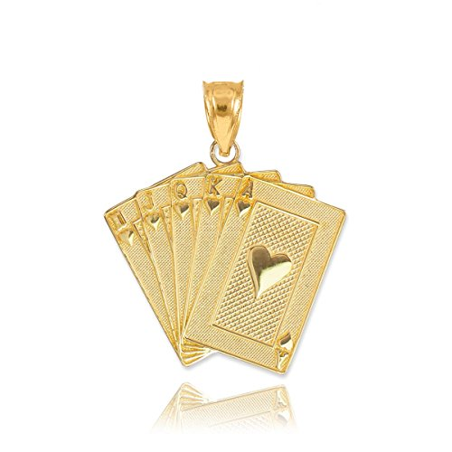 Good Luck Charms Solid 14k Yellow Gold Royal Flush of Hearts Poker Necklace Pendant