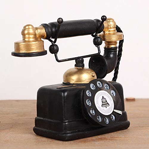 Handset Amp - Inveroo Vintage Telephone Figurine Resin Crafts Retro Handset Telephone Model Miniature Home Decoration Ornament Living Room Decor Gifts