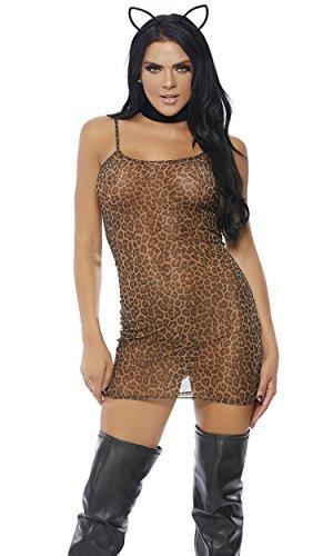 Forplay Women's Mesh Cami Mini Dress, Leopard L/XL