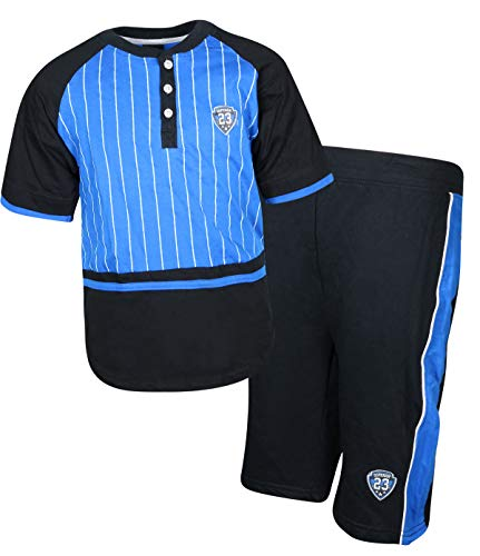 Quad Seven Boys 2-Piece French Terry Short Set with Matching Shirt, Blue Stripes, Size 12/14'