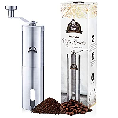 Manual Coffee Grinder by KudosHolmes - Portable Stainless Steel Design with 25 Adjustable Grind Selector Settings, Conical Ceramic Burr Mill with Quiet Grinding - Great for Camping, Travel, Picnics from KudosHolmes