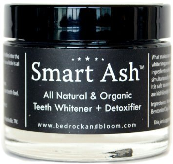 Smart Ash Organic All Natural Whitening Tooth Powder with Activated Charcoal & Bentonite Clay - Whitens, Desensitizes, Detoxifies - Toothpaste Alternative Safe for Sensitive Teeth (1)