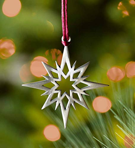 - Plow & Hearth Solid Pewter Christmas Tree Ornament - Approx. 2.25 H - Star