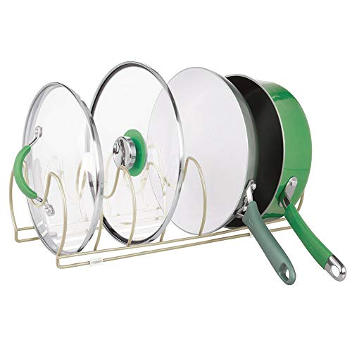 mDesign Metal Wire Pot/Pan Organizer Rack for Kitchen Cabinet, Shelves, 6 Slots for Vertical or Horizontal Storage of Skillets, Frying or Sauce Pans, Lids, Baking Stones - Satin