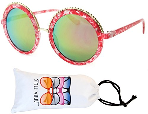 V173-vp Style Vault Oversized Thick Round Sunglasses (B3192F Pink marble-greenish pink mirror, - Round Big Retro Sunglasses