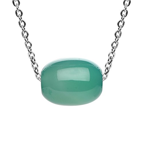 - iSTONE Natural Gemstone Green Agate Barrel Bead Pendant Necklace for Peace and Luck 18 Inch Chain