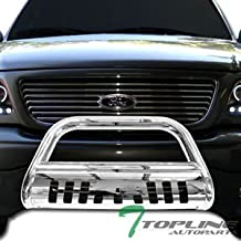 Topline Autopart Polished Stainless Steel Bull Bar Brush Push Front Bumper Grill Grille Guard With Skid Plate For 08-11 / 12 Ford Escape ; Mazda Tribute ; Mercury Mariner ; 06-10 Mercury Mountaineer