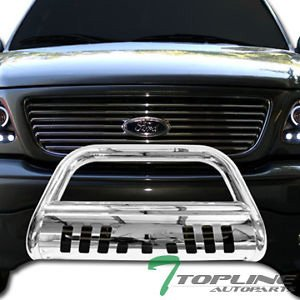 Topline Autopart Polished Stainless Steel Bull Bar Brush Push Front Bumper Grill Grille Guard With Skid Plate For 08-11 / 12 Ford Escape ; Mazda Tribute ; Mercury Mariner ; 06-10 Mercury Mountaineer Bumper Grille Guard Tube