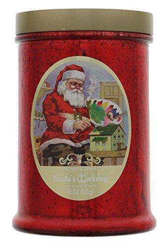 Tuscany Christmas Gift Jar Candle, Double Wick, 18Oz, Red Santa's Workshop (Candle Jar Santa)