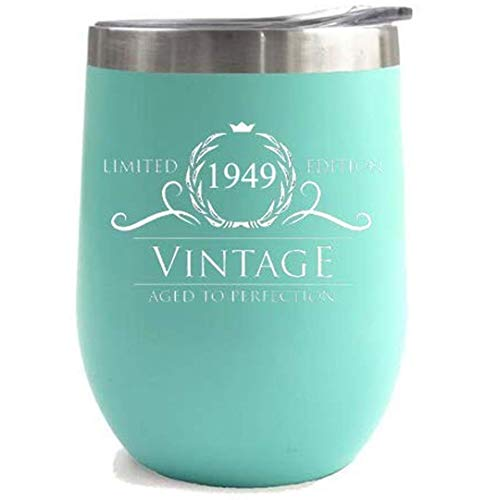 - 1949 70th Birthday Gifts for Women Men   Vintage Aged to Perfection Stainless Steel Tumbler   12 oz Mint Tumblers w Lid   Funny Gift Ideas for Him Her Husband Wife Mom Dad   Insulated Cups 70 th bday