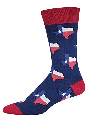 "Socksmith Mens Crew Socks ""Texas"" Navy - One Size"