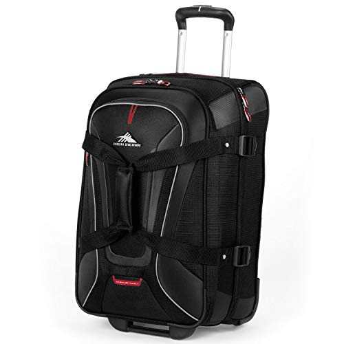 High Sierra AT7 Rolling Duffel Bag, Black, 22-Inch - Spacious, Lightweight and Durable - Can Be Used as a Backpack, Upright Wheeled Duffel Bag, or Regular Duffel - Perfect for Travel ()