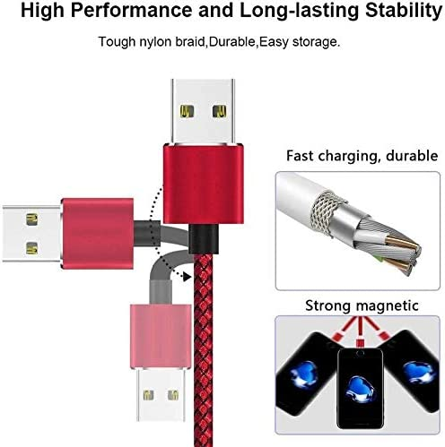 3 in 1 Cable,Micro USB//Type C//Charger Cable Compatible with Phone Charger Color : Black, Size : 2M//6.6ft HL-TD Mobile Phone Cable Magnetic Phone Charger Cable