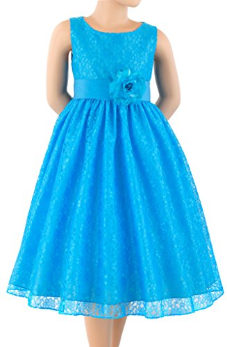 Sash Taffeta Wedding Dress (Wonder Girl Diana Big Girls' Lace Flowered Taffeta Sash Calf Length Dress S12 Turquoise)