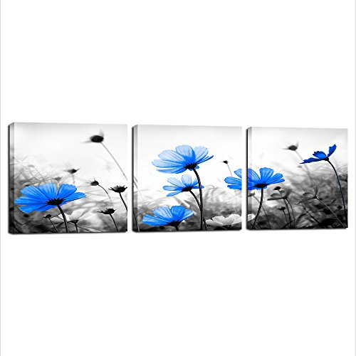 Royal Blue Art (Royal Blue Wall Art, Three Piece Canvas Prints Flower Painting Framed Blue Floral Art for Living Room Bedroom Kitchen Office Wall Decoration Living Room Beddroom Wall Decoration (Blue, 12inx12inx3))