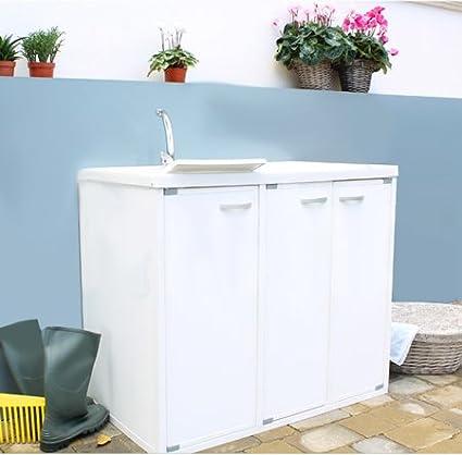 Lavandino Per Esterno In Plastica.Bagno Italia Lavapanni Lavatoio Con Coprilavatrice Per Interno O