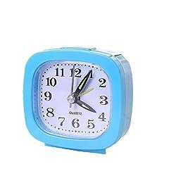 Exteren Square Small Bed Compact Travel Quartz Beep Alarm Clock Cute Portable Alarm Clocks (Sky Blue)